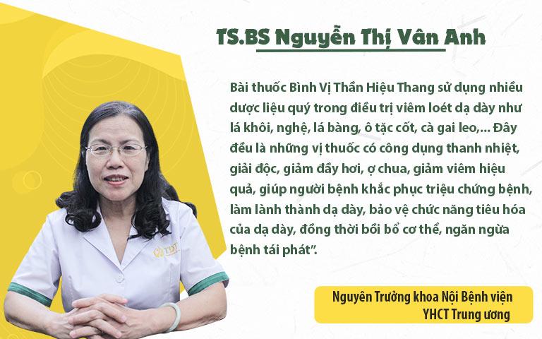 TS. BS Nguyễn Thị Vân Anh đánh giá về hiệu quả và độ an toàn của bài thuốc Bình Vị Thần Hiệu Thang