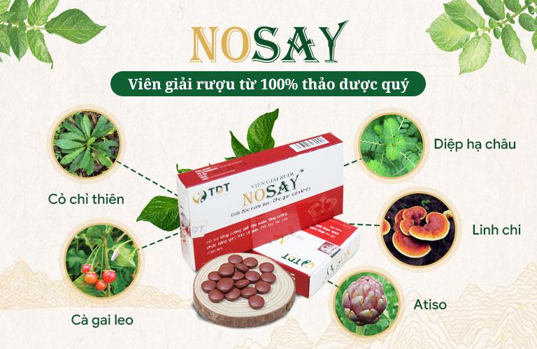 Viên giải rượu Nosay với thành phần 100% từ thảo dược