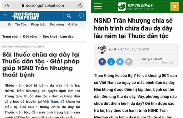 Thông tin NSND Trần Nhượng chữa khỏi bệnh tại Thuốc dân tộc cũng được đại đa số báo chí quan tâm