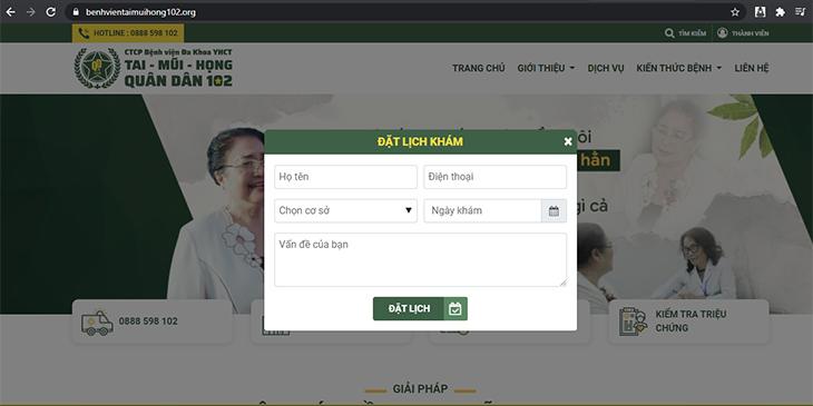 Cách đặt lịch khám qua website chính thức của bệnh viện