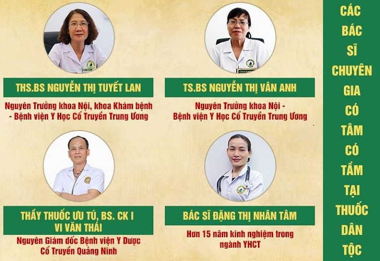 Đội ngũ y bác sĩ chuyên nghiệp tại Trung tâm Thuốc dân tộc
