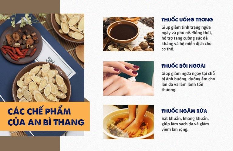 Bài thuốc An Bì Thang sử dụng kết hợp 3 chế phẩm thuốc uống, thuốc bôi và thuốc rửa với thành phần hoàn toàn từ thảo dược thiên nhiên lành tính
