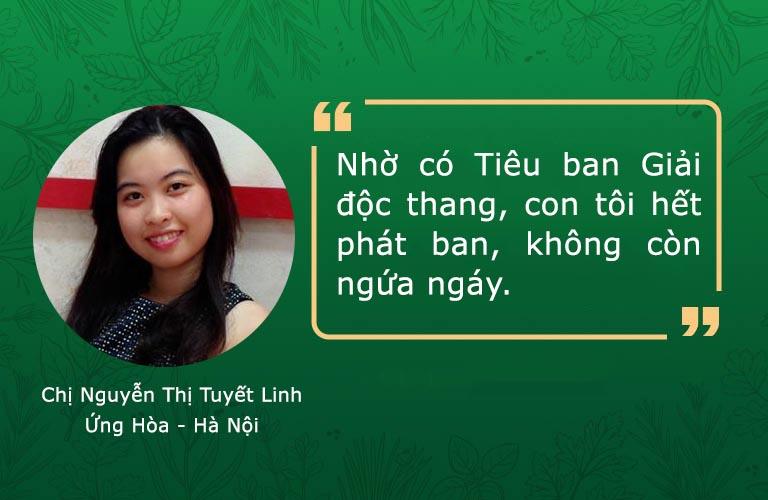 Phản hồi của chị Tuyết Linh về hiệu quả Tiêu ban Giải độc thang