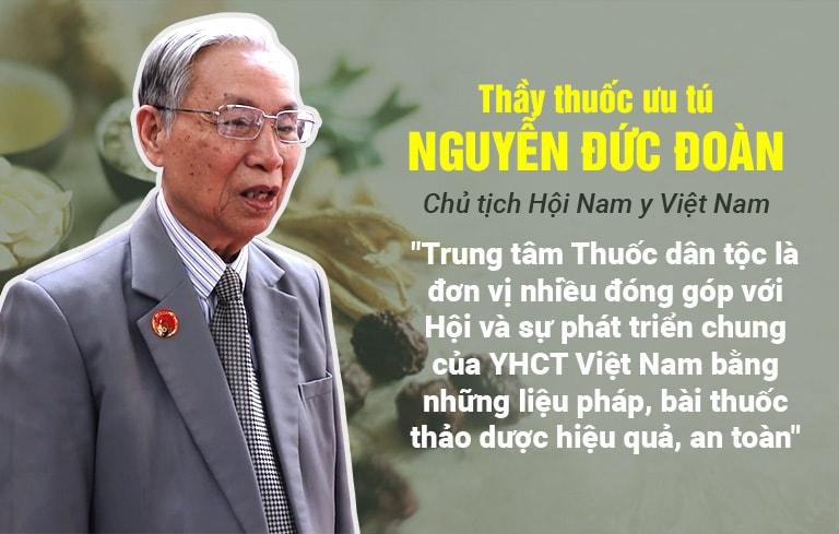 Thầy thuốc Nguyễn Đức Đoàn ghi nhận những đóng góp của TT Thuốc dân tộc