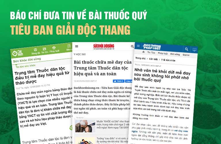 Báo chí đưa tin về tiêu ban Giải độc thang