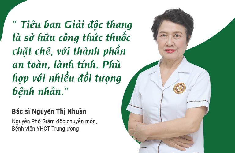 Bác sĩ Nguyễn Thị Nhuần đánh giá bài thuốc Tiêu ban Giải độc thang
