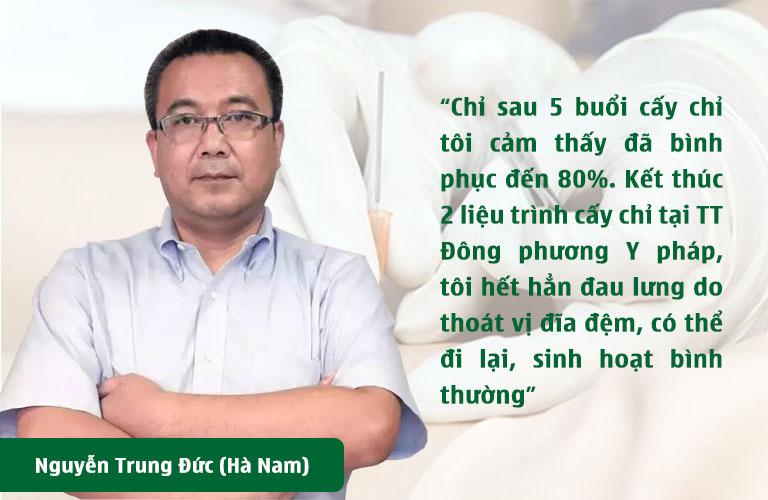 Anh Nguyễn Đức Trung phản hồi hiệu quả cấy chỉ tại TT Đông phương Y pháp
