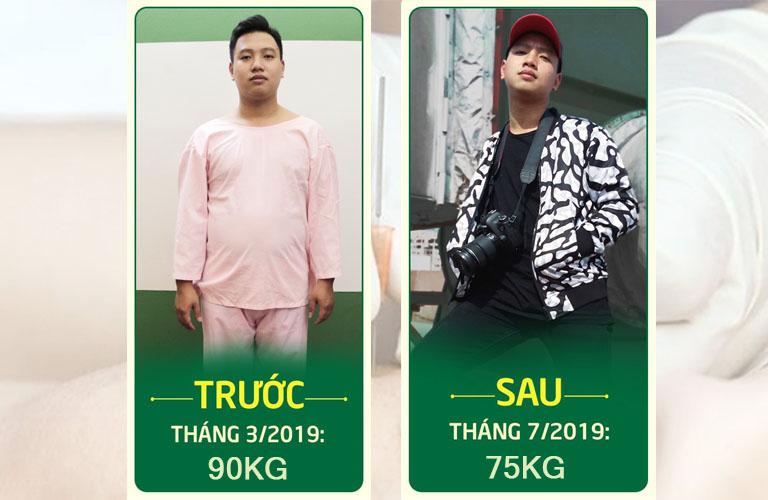 Hình ảnh feedback của chàng trai Thành Trung sau khi giảm 15kg nhờ cấy chỉ Đông phương Y pháp
