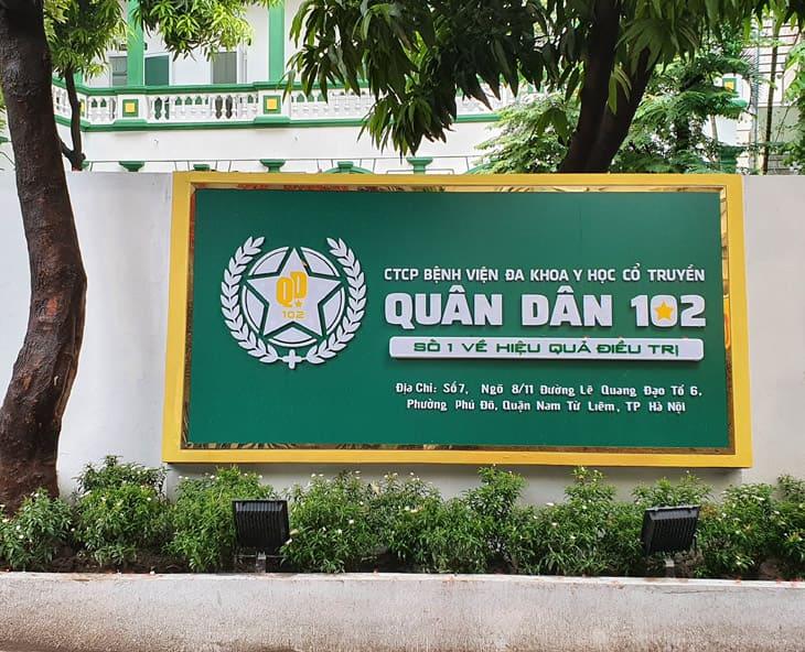 Bệnh viện YHCT Xương khớp Quân Dân 102 trực thuộc CTCP Bệnh viện Đa khoa YHCT Quân Dân 102