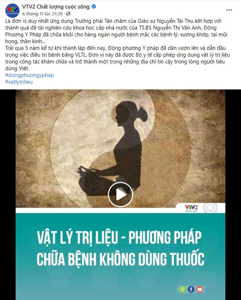 VTV2 Chất lượng cuộc sống viết về Đông phương Y pháp