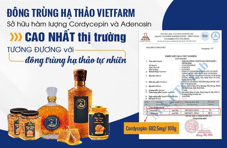 Đông trùng hạ thảo Vietfarm được cơ quan có thẩm quyền kiểm định chất lượng