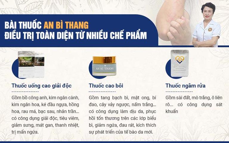 3 chế phẩm trong bộ giải pháp điều trị viêm da tiếp xúc An Bì Thang