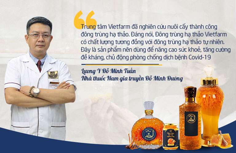 Lương y Đỗ Minh Tuấn – Giám đốc chuyên môn Nhà thuốc nam gia truyền Đỗ Minh Đường khuyên mọi người sử dụng đông trùng hạ thảo Vietfarm