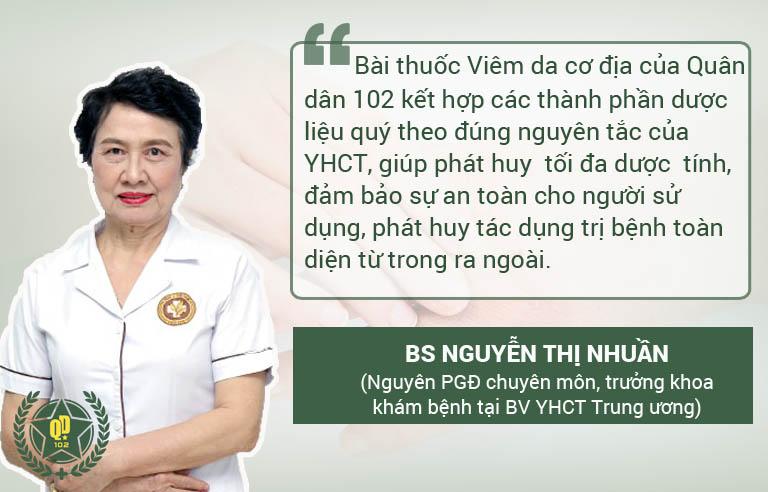 BS Nguyễn Thị Nhuần đánh giá bài thuốc viêm da cơ địa Quân dân 102
