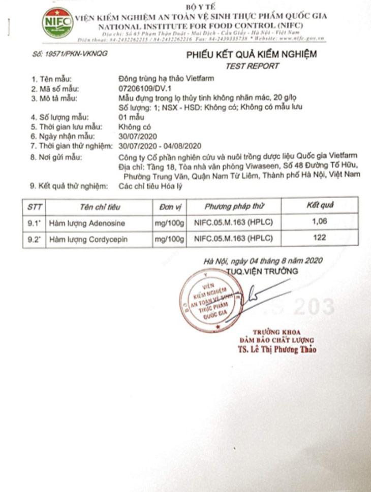 Giấy kiểm nghiệm hàm lượng cordycepin trong đông trùng hạ thảo Vietfarm
