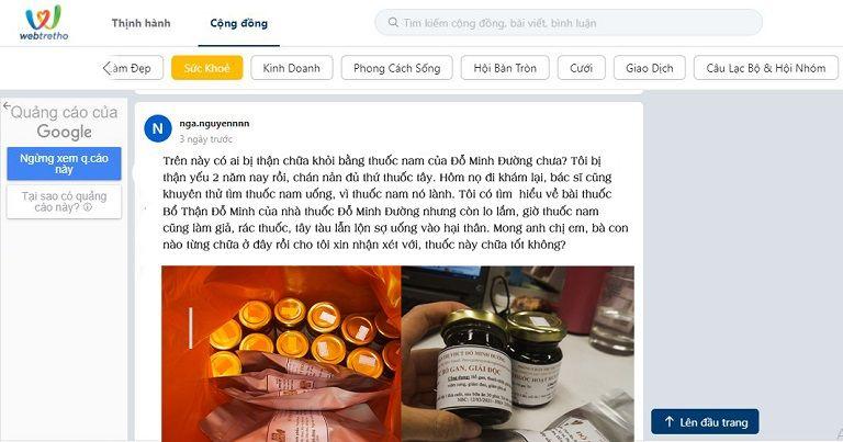 Bài đăng trên webtretho về bài thuốc của Đỗ Minh Đường
