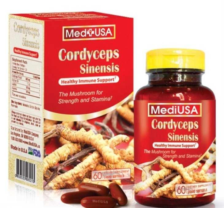 Viên uống Mediusa Cordyceps Sinensis có bao bì màu đỏ