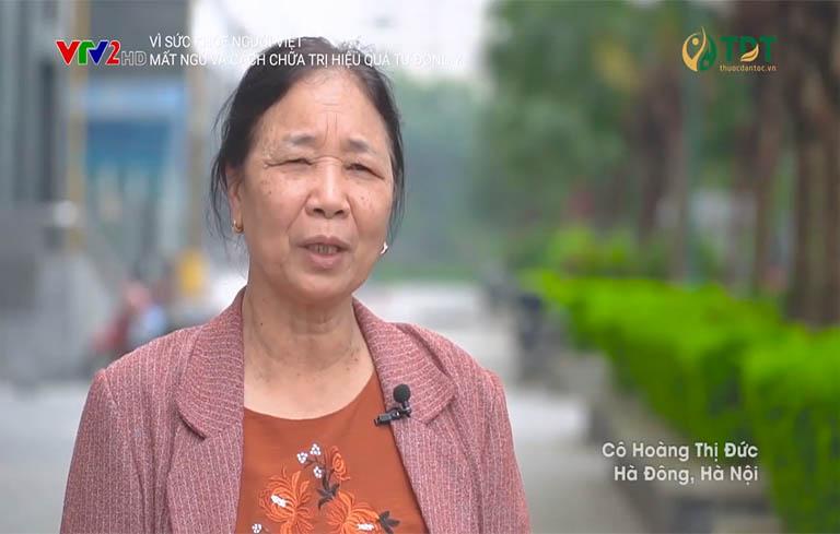 Bà Hoàng Thị Đức chia sẻ hiệu quả bài thuốc Định tâm An thần thang trên VTV2