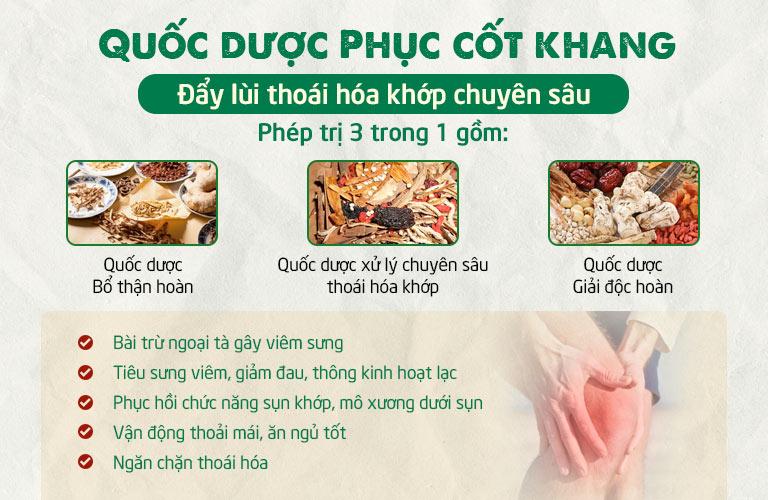 Bài thuốc Quốc dược Phục cốt khang kết hợp 3 nhóm thuốc