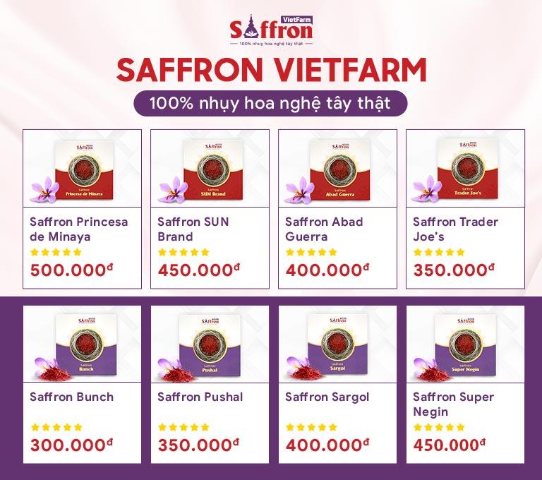 Bảng giá các sản phẩm nhụy hoa nghệ tây cao cấp của Saffron Vietfarm