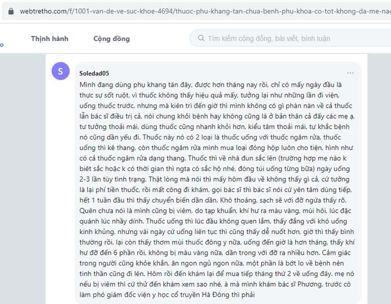 Chia sẻ của một người bệnh về Phụ Khang Tán trên webtretho