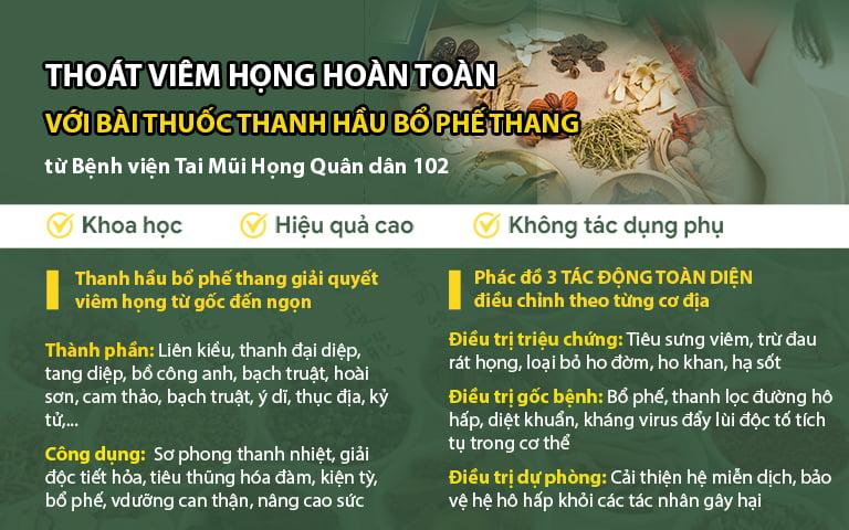 Phác đồ chữa viêm họng Quân dân 102 từ Thanh hầu bổ phế thang