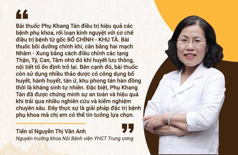 Đánh giá của bác sĩ Vân Anh về cơ chế điều trị của Phụ Khang Tán