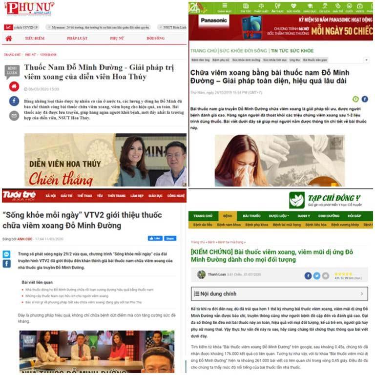 Một số bài viết trên báo về bài thuốc viêm xoang Đỗ Minh