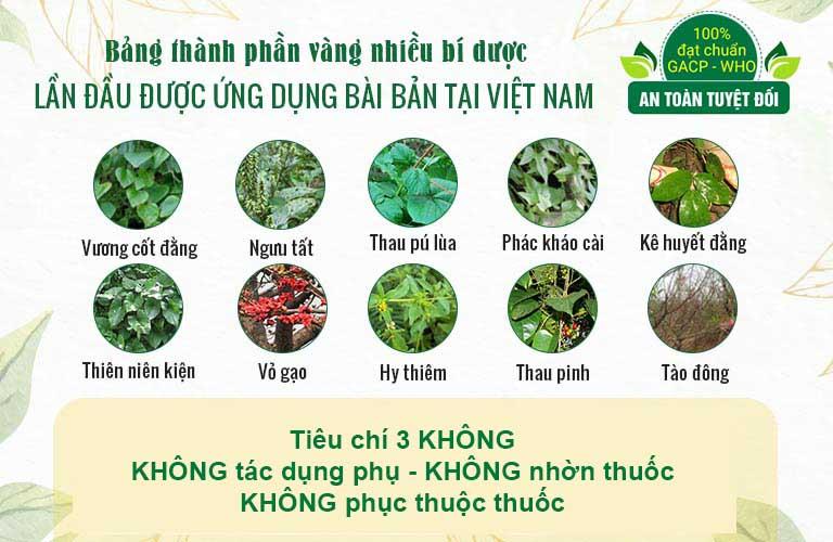 Quốc dược Phục cốt khang chắt lọc tinh hoa từ hơn 50 vị thuốc Nam