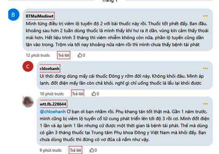 Phản hồi của bệnh nhân viêm lộ tuyến về Phụ Khang tán trên webtretho