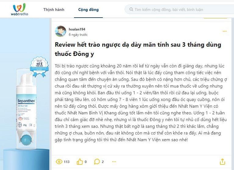 Bài review trên diễn đàn webtretho