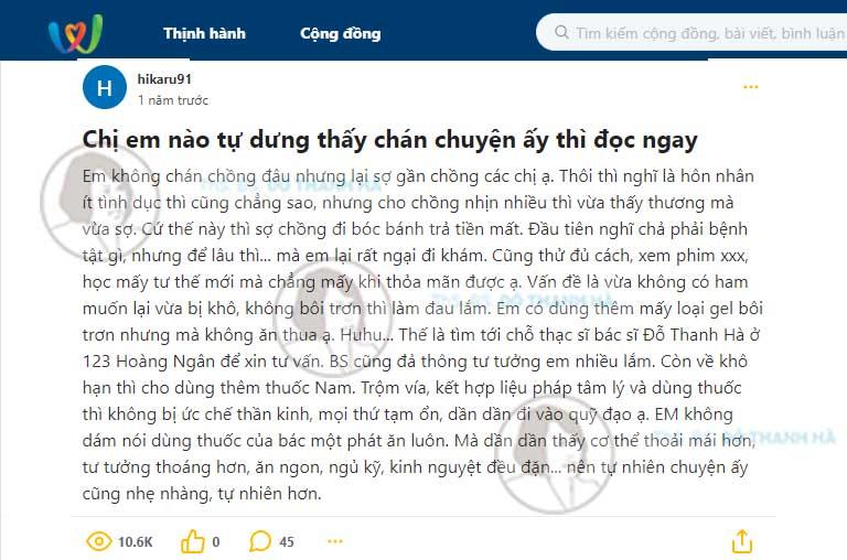 Các chị em trên diễn đàn Webtretho review chi tiết về bài thuốc nội tiết trị giảm ham muốn của bác sĩ Hà